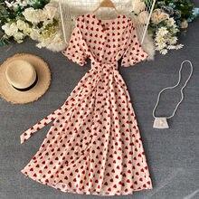 Verão feminino casual com decote em v impresso vestidos de festa manga curta vestido swing vestidos de mujer elegantes # c