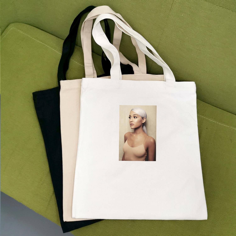 Fashion Ariana Grande Print Canvas Bag Portable Webbing Cotton Canvas Bag Creative Shoulder Canvas Bag Creative Shopping Bag