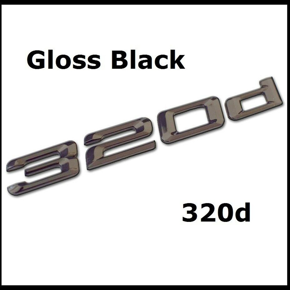 Gloss Black 320d Badge Emblem Rear Number Letters Badges Car Sticker For BMW 3 Series Car Accessories|Car Stickers| |  - title=
