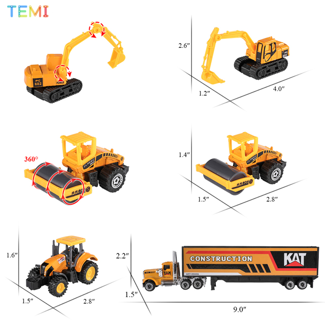 Diecast model Engineering tractor toy car 3 Police& Racing Fire truck Educational Toys trucks for boys children 2 to 4 years old 4