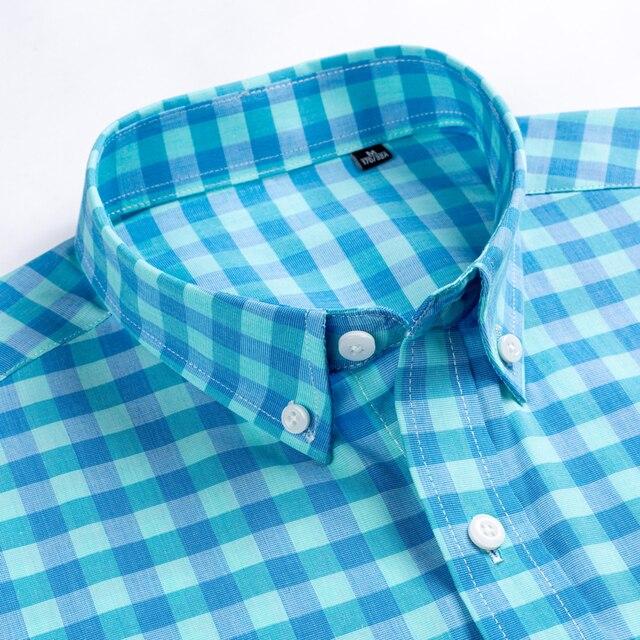 Plaid Checkered Short Sleeve Cotton Shirts 2