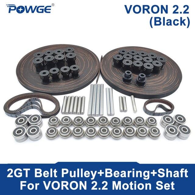 POWGE VORON V2.2 Set Motion PARTS GT2 LL 2GT RF Open Timing Belt 2GT 16T 20T Pulley 110/188 Loop Belt Shaft Bearing Rubber 5mm
