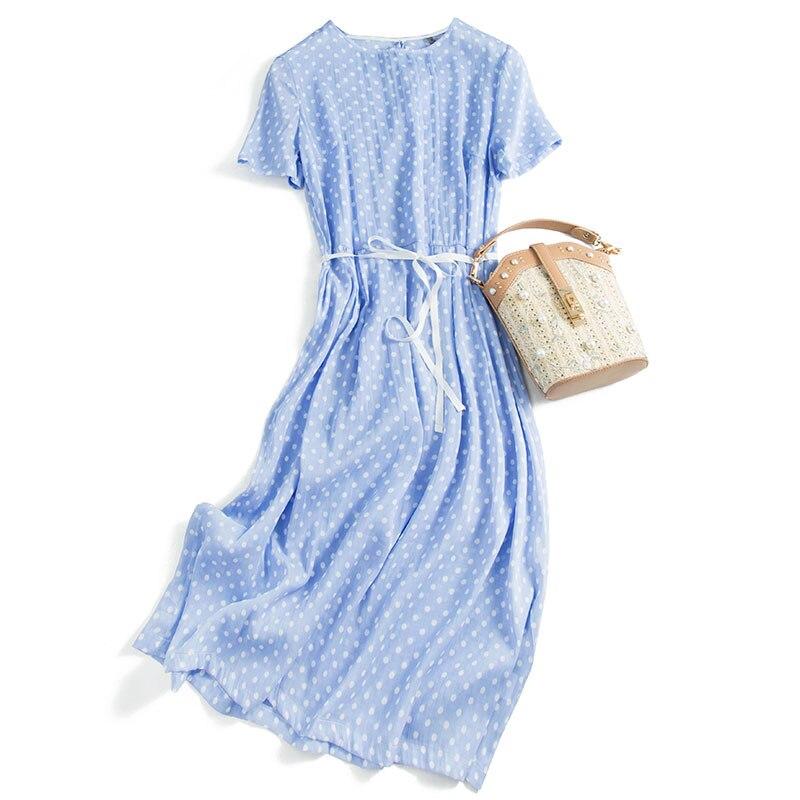Casual  Dot Dress Silk And Cotton Sashes  Knee-Length  Short Sleeve Vestidos De Moda 2020 Primavera Dress Female Summer