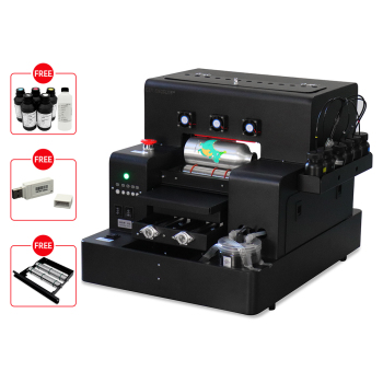 Automatic Small UV Printer A4 Size Flatbed with 2500 ml Ink for Bottle, Phone Case, Lighter, TPU, PVC, Metal, Wood