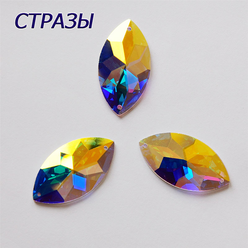 CTPA3bI 2103TH Navette Crystal AB Rhinestone Applique Sewing On Glass Stones Accessories Crystal Jewelery DIY Dresses Crafts in Rhinestones from Home Garden
