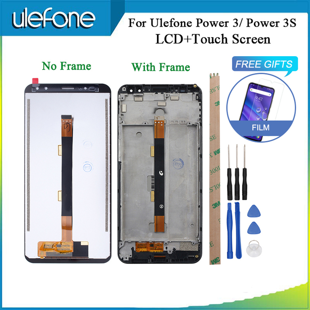 For Ulefone Power 3 3S LCD Display And Touch Screen With Frame Perfect Repair Parts For Ulefone Power 3 + Tools And Tape + Glass