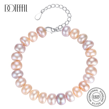 DOTEFFIL Natural Freshwater Pearl Bracelets Bangles For Women 8-9MM Pearl Oval Mixed color 925 Silver Pearl-clasps Jewelry Gift doteffil genuine natural freshwater pearl bracelets fine jewelry bangles for women 6 7mm pearl oval 925 silver pearl clasps gift