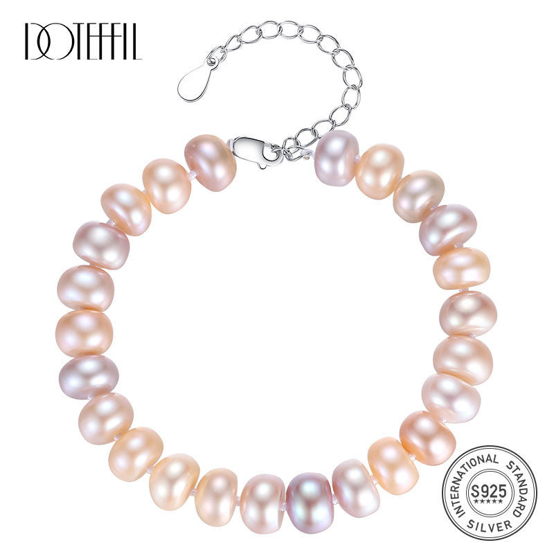 DOTEFFIL Natural Freshwater Pearl Bracelets Bangles For Women 8-9MM Pearl Oval Mixed color 925 Silver Pearl-clasps Jewelry Gift