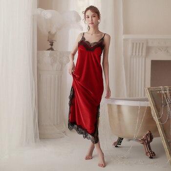 Nightgown Autumn V-Neck Nightdress Women Sleepwear Velvet Nightwear Home Dressing Gown Long Gowns Intimate Lingerie Negligee 1