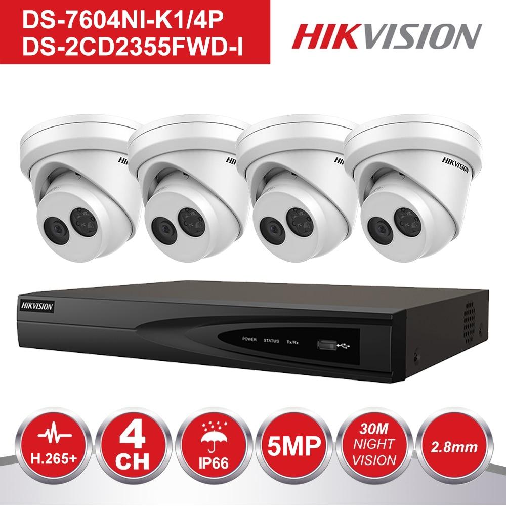 Hikvision 4CH NVR KIT CCTV System Rekord 5MP PoE IP Kamera P2P Wasserdichte Outdoor IR Nachtsicht Video Überwachung KIT-in Überwachungssystem aus Sicherheit und Schutz bei  Gruppe 1