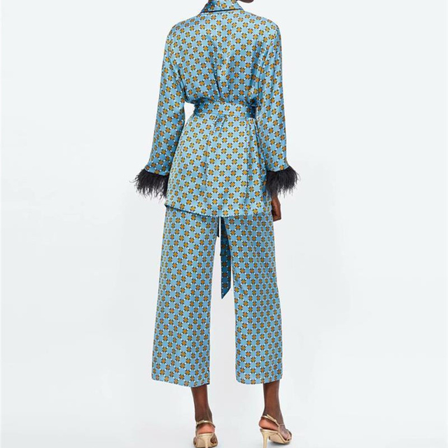 Women's suits 2021 New Arrival Blue Printed Kimono Jacket with Feather Sleeves Wide Leg pants two-piece Vintage Clothing Suits 2