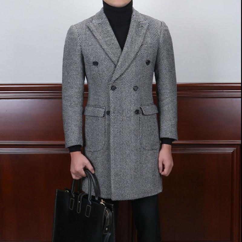 Men/'s Vintage Herringbone Light Coffee Suits Wool Blend Blazer Peak Lapel Custom