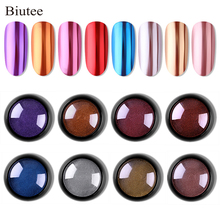 Biutee 8 Colors Holographic Chrome Nail Powder Trends Metallic & Rainbow Mirror Effect Nails Manicure
