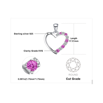 Pink Sapphire Pendant Sterling Silver Gemstones Statement Necklace  4