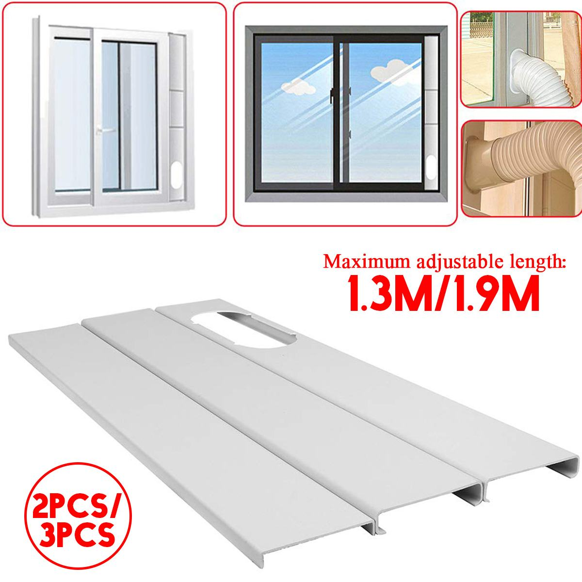 1.9M/1.3M Mobile Air Conditioner Universal Adjustable Window Sealing Plate Splint Baffle Airconditioner Scudo Condizionatore