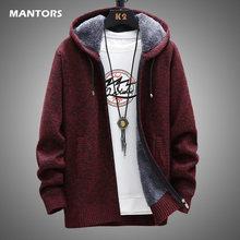 Męski rozpinany sweter zimowa wełniana wkładka swetry z kapturem gruby ciepły dzianiny mężczyźni wąski sweter płaszcz 2020 kurtka męska odzież XXXL