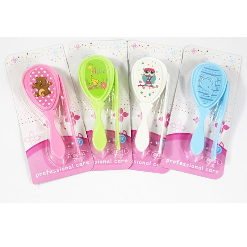 Hair-Brush Scalp-Massager-Tool-Set Newborn-Baby Comb-Head Kids Cartoon 2pcs/Set Soft