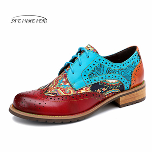 Image 1 - Women Genuine leather brogue casual designer vintage Retro lady flats shoes handmade oxford shoes for women blue 2020 spring