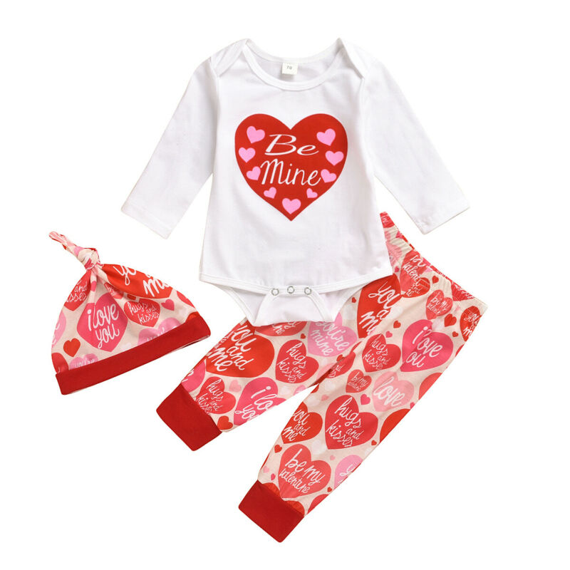 US Infant Baby Girl Boys 1st Valentine/'s Day Bodysuit Trousers Hat Clothes 0-24M