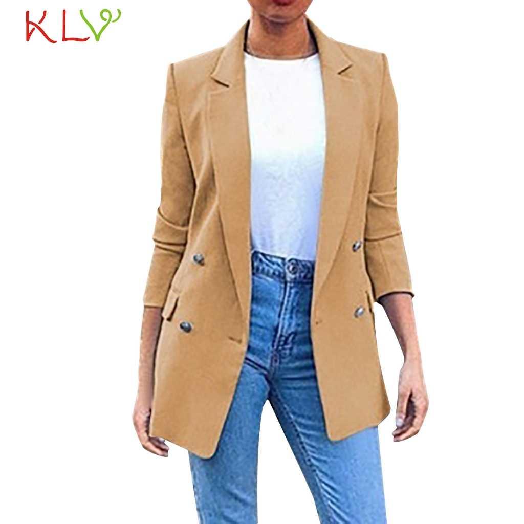 Kobiety kurtka przyciski Lapel urząd Lady garnitur slim fit na co dzień pracy wiatrówka Plus rozmiar 2019 Overwear podstawowe kurtki płaszcz moda 19Ag