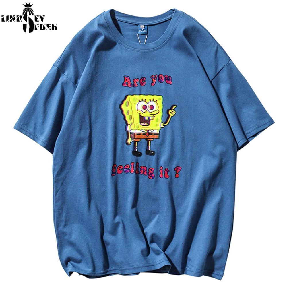 Lindsey Seader 2020 Harajuku T Shirt Streetwear Men Hip Hop SpongeBob SquarePants T-Shirts Print Tshirt Cotton Tops Tees Fashion