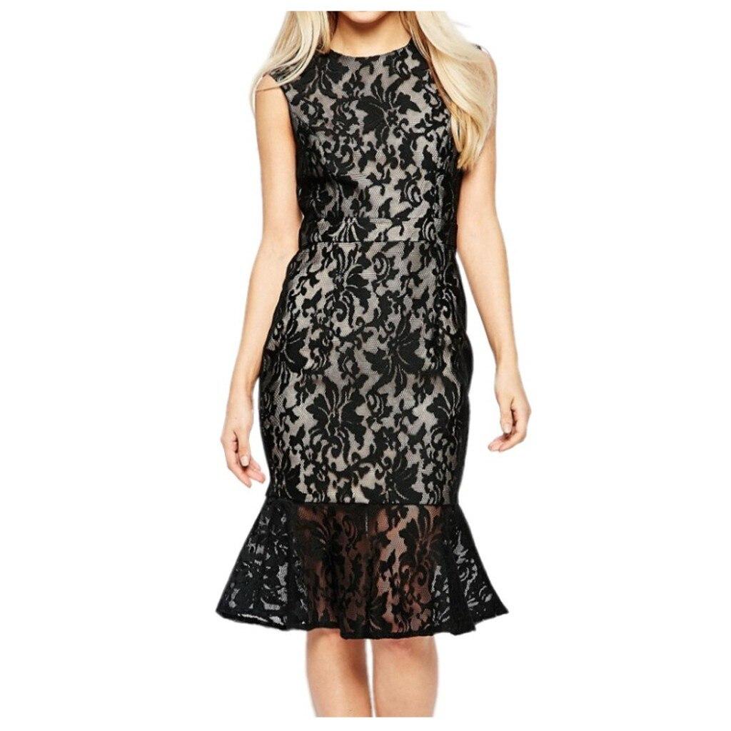 Summer O-neck Lace Dress Women Sleeveless Off Shoulder Black Solid Bodycon Dress Nightclub Ladies Party Dresses Vestidos#J30