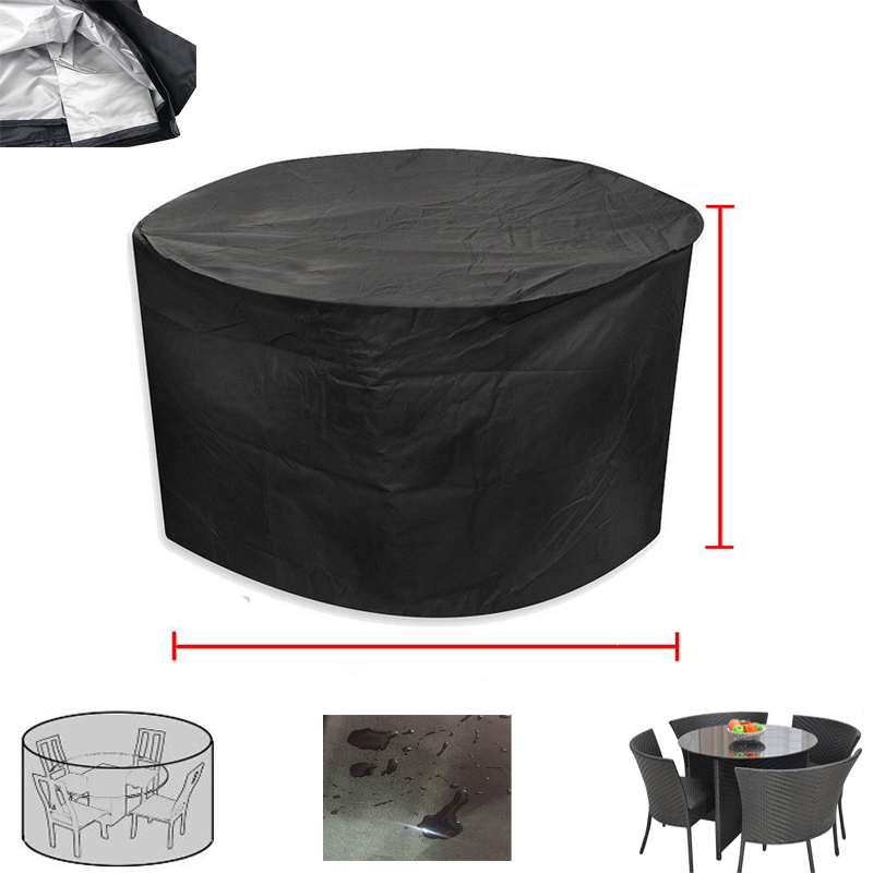 Outdoor Round Table Dust Cover Outdoor Round Garden Table Cover Waterproof Terrace Furniture Rainproof Cover Oxford Cloth Sofa S