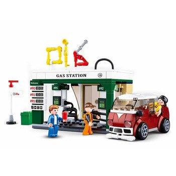 0759B simulada ciudad coche gasolinera rompecabezas para niños montado juguetes de bloques de construcción de plástico