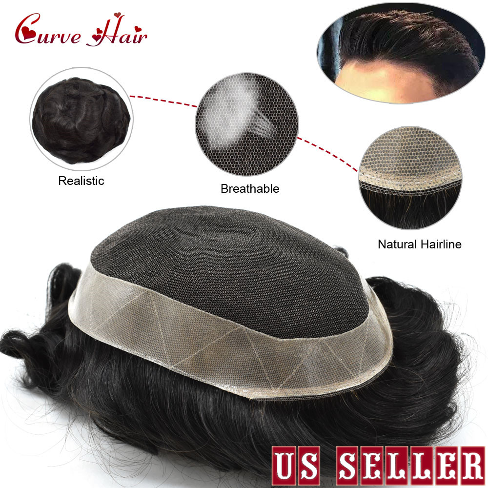 French Lace Mens Replacement System 1B Off  Black Durable Mens Hairpieces Human Hair Mens Toupee D7-5