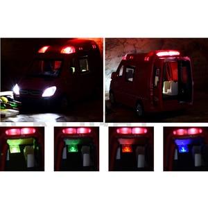 Image 5 - 1:32 救急車パトカーモデル合金ダイキャストメタルプルバック音光の子供のおもちゃ車消防車車モデル子供ギフト