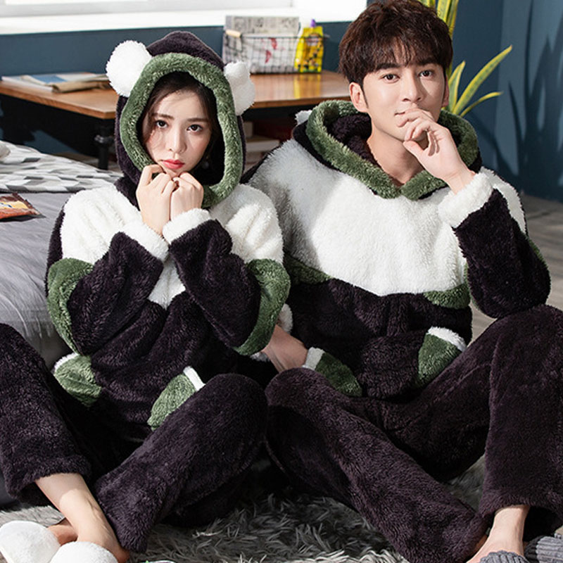 New Unisex Adult Couple Pajamas Thickening Warm Winter Men Home Clothes Hooded Pajamas Sets 2 Pcs Cute Cartoon Male Sleepwear
