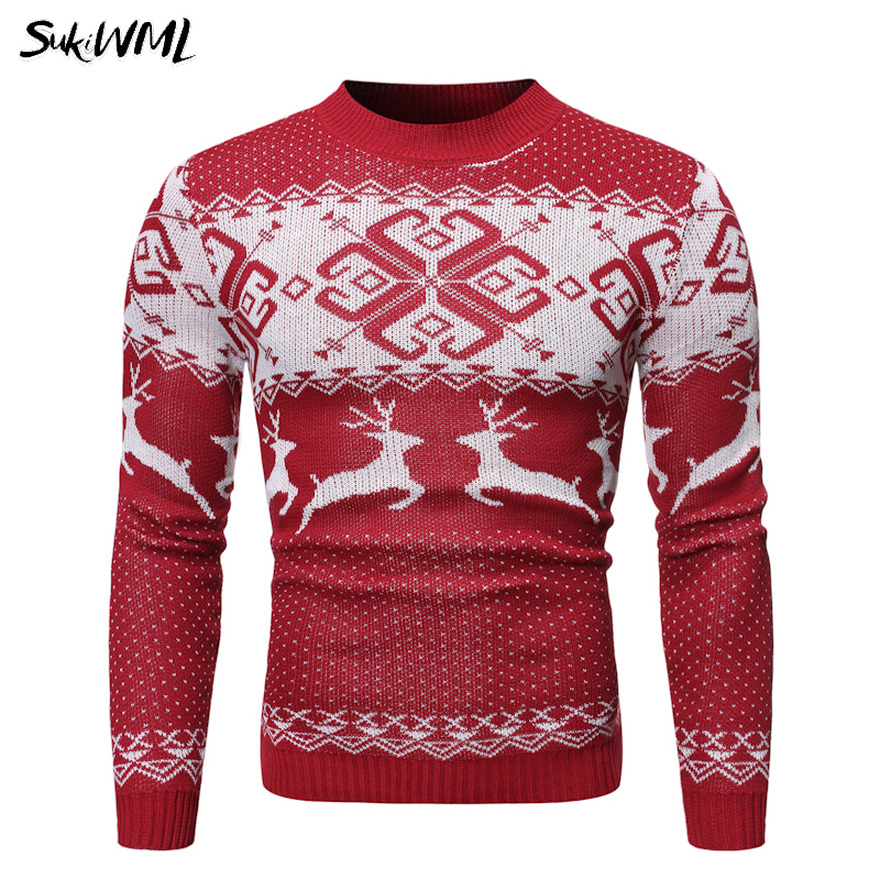 SUKIWML Sweater Men 2019 New Christmas Reindeer Gift Pullover Men Casual Men Winter Sweaters Knitted Slim Fit Warm Pull Homme
