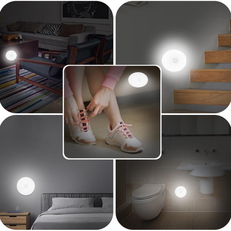 con cuscinetti adesivi 3M e magnetiche per scale colore: Bianco Set di 6 luci notturne con sensore di movimento a LED Aiguozer luci notturne armadio alimentate a batteria