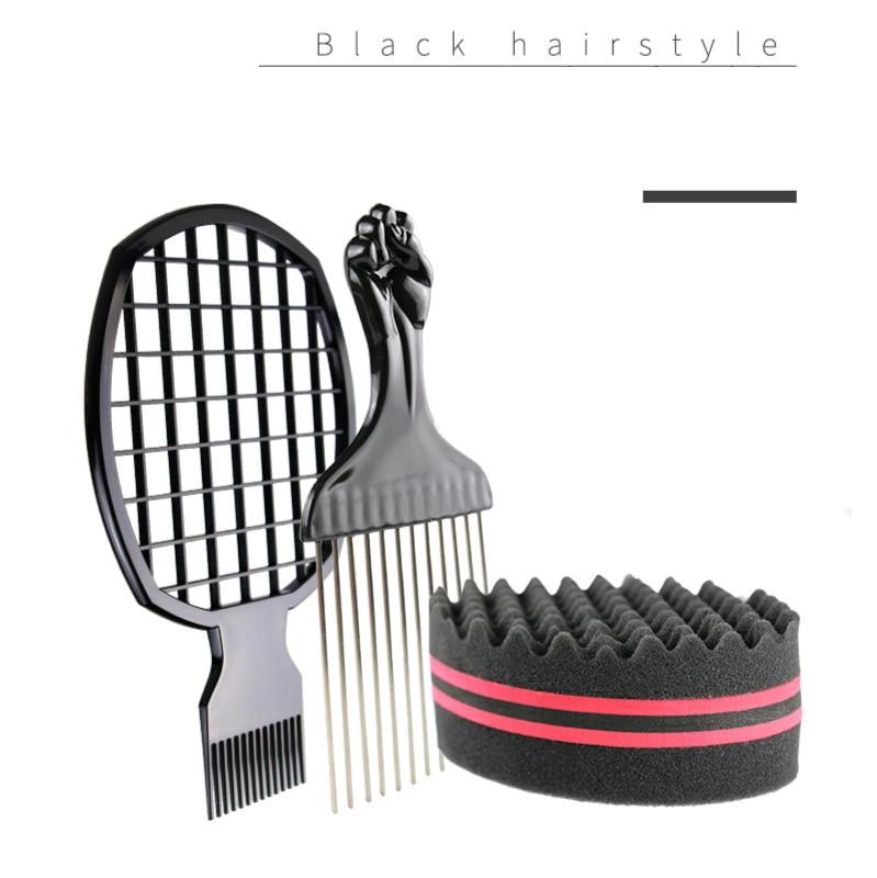 3pcs/set Magic Sponge Hair Brush Salon Barber Wave Comb For Afros Curls Coils Dreadlocks Hair Styling G0316