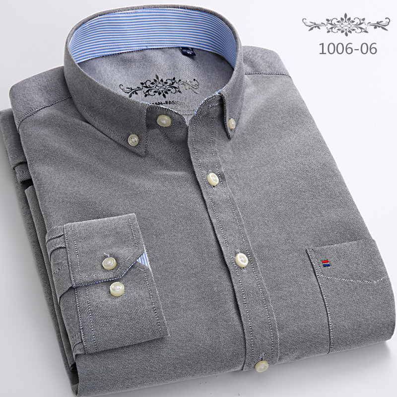 2020 Men's Oxford Cotton Fashion Stripe Casual Long Sleeve Shirts Retro Style High Quality Design Men's Dress Shirts Blouse