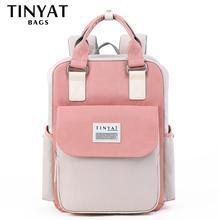 TINYAT Candy women canvas backpack waterproof feminina laptop backpack 15 Pink Patchwork school backpacks bags for teenage girls