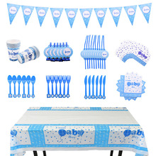 Baby Shower Disposable Tableware Decoration Blue Plates Cups Napnkins Straw for Kids Frist Birthday Party Baby Shower Supplies lego blocks theme disposable tableware set paper plates cups baby shower birthday party supplies decoration for kids