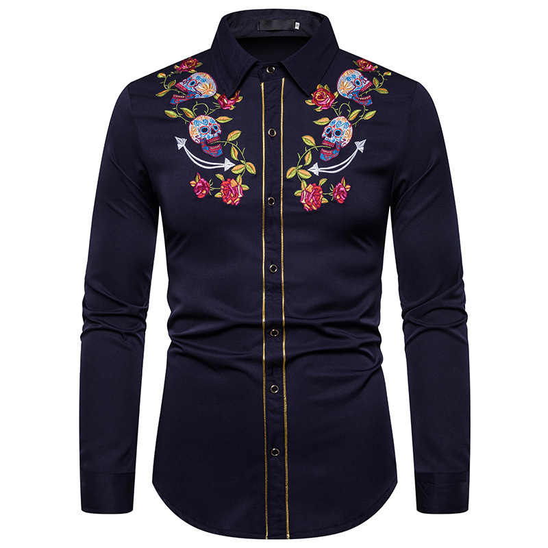 CYXZFTROFL 2020 Mens Western Cowboy Skull And Flower Embroidery Shirt Slim Fit Casual Long Sleeve Button Down Party Shirt Men