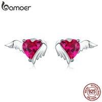 Bamoer rouge coeur gardien aile argent boucle d'oreille en forme de coeur CZ épingle d'oreille 925 en argent Sterling mariage bijoux de luxe SCE690