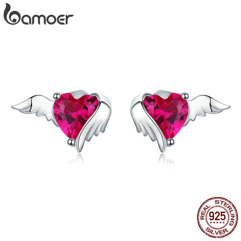 Bamoer Red Heart Guardian Wing Silver Stud Earring Heart-shape CZ Ear Pin 925 Sterling Silver Wedding Luxury Jewelry SCE690