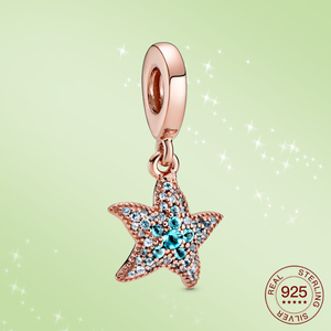 Real 925 Sterling Silver Starfish Rose gold Charms Sparkling CZ Fit Original silver Bracelet Jewelry Ocean