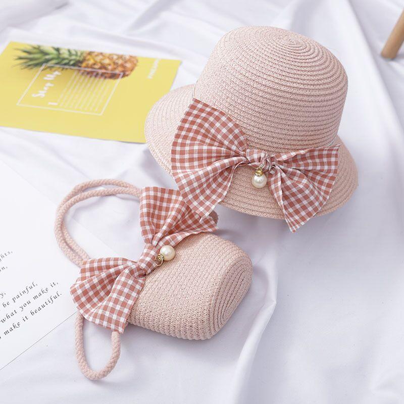 MAERSHEI Baby Girls Straw Sun Hat Fashion Flower Bow Cute Kids Beach Hat Kids Cap Small Bag Set 4 Color