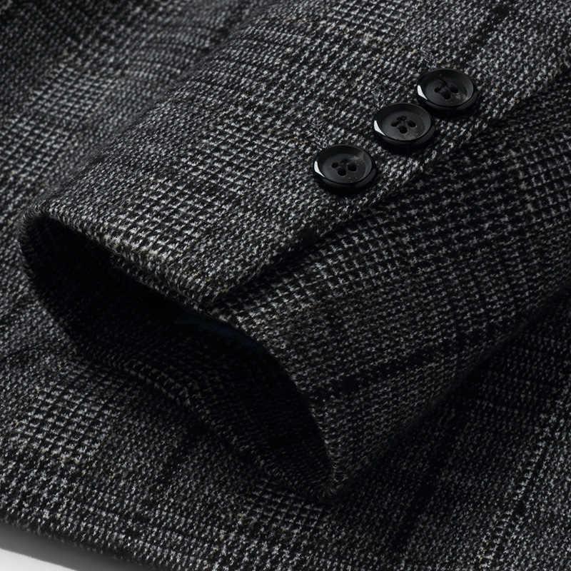 Top Grade 2018 Nieuwe Fashion Brand Blazer Jas Heren Lange Plaid Slim Fit Suits Coat Koreaanse Casual Heren Kleding