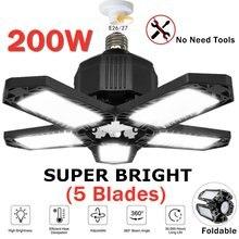 2 pces 200w conduziu a luz da garagem e26/e27 deformable lâmpada de iluminação do armazém da luz de teto com 5 painéis ajustáveis para a oficina da casa