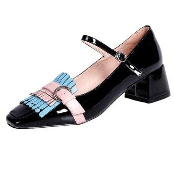 new arrive brand women pumps shoes new 2020 spring genuine leather shoes woman med square toe dress party autumn shoes pumps