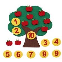 몬테소리 수학 장난감 사과 나무 아이들 발달 지능 유치원 Diy 직조 천 조기 학습 교육 장난감 가르쳐