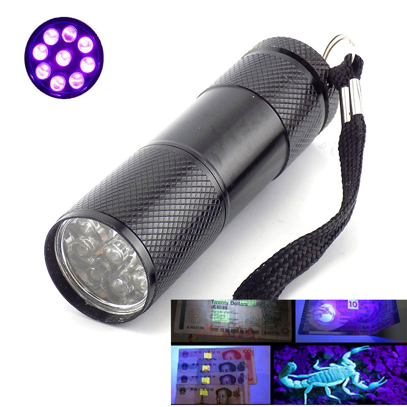 9 LED UV Flashlight Mini Purple Color Backlight Ultraviolet Flash Torch Light Lamp Linterna AAA Ultra Violet For Money Detection