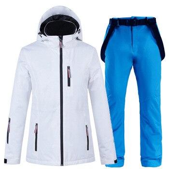 Women Ski Suit Winter Jacket and Pants for Warm Waterproof Windproof Skiing Snowboarding Suits Female Coat
