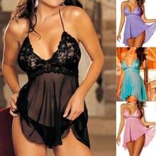 Picardías de encaje con Tanga para mujer, lencería Sexy, ropa interior, camisones de dormir, 4 colores de talla grande
