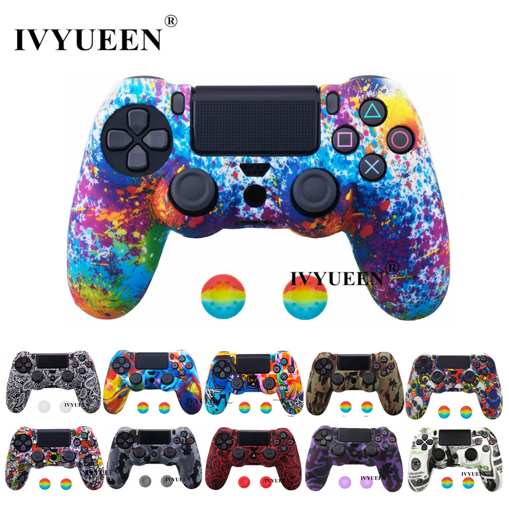 IVYUEEN 44 Colors For Sony PlayStation 4 PS4 Pro Slim Controller Silicone Protective Skin Cases Thumb Grips Joystick Caps Cover